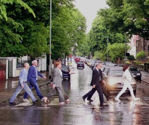 Carolyn (at right) re-enacting the famous Beatles photograph at Abbey Road with the other members of the Cassini Imaging Team.